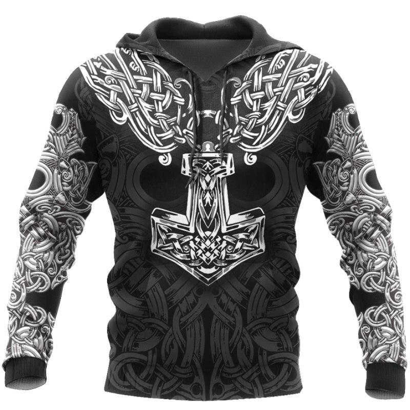 Viking Hoodie - Mjolnir odin 3D Printed Men hoodies Harajuku Fashion Hooded Sweatshirt Autumn Unisex hoodie sudadera hombre