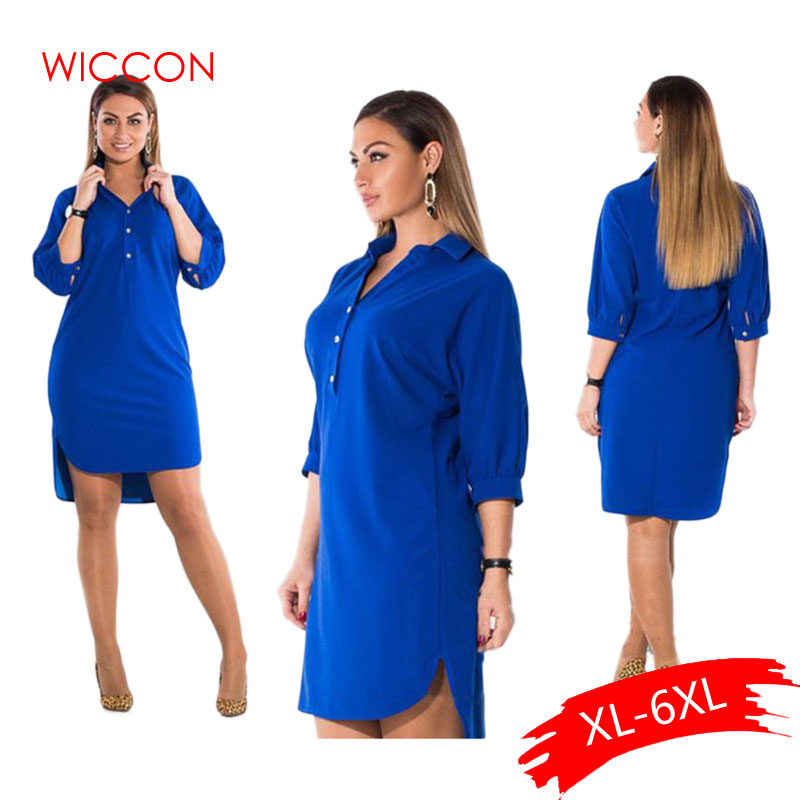 <font><b>5XL</b></font> <font><b>6XL</b></font> Fashion <font><b>Women's</b></font> <font><b>Clothing</b></font> <font><b>Plus</b></font> <font><b>Size</b></font> Autumn Turn Down Collar Split <font><b>Dress</b></font> Blue <font><b>Sexy</b></font> Irregular Large <font><b>Size</b></font> <font><b>Dress</b></font> Female image