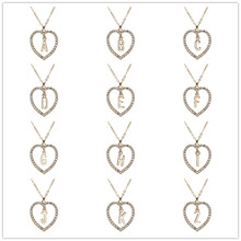 New fashion love letter necklace ladies heart-shaped mosaic crystal pendant couple jewelry wholesale