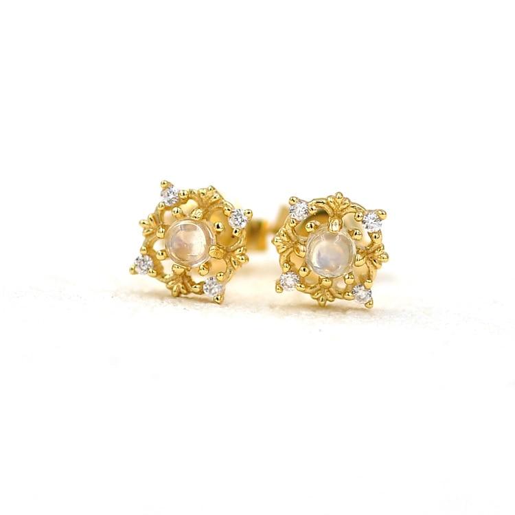Bijoux moonlight pierre boucles d'oreilles automne et hiver nouvelle couleur trésor alimentaire argent placage or - 6