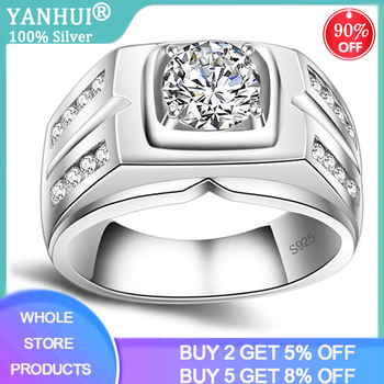 With Certificate Luxury Men's 925 Silver Ring 1 Carat Zirconia Diamond Wedding Rings Punk Style For Men Gift Silver 925 Jewelry yanhui with certificate 1 carat 2 carat gemstones zirconia diamond ring 925 sterling silver jewelry wedding bands for women