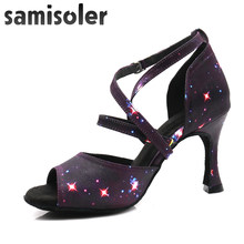 Samisoler Glitter Cut-Outs shoes woman latin dance shoes tango jazz dance shoes salsa Ballroom Fashion shoes dance 6CM-10CM(China)