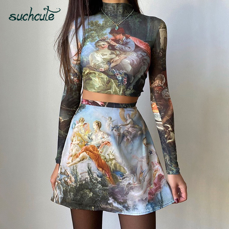 SUCHCUTE Stitching Trend Retro Female Tshirt Long Sleeve 2019 Bodycon Tee Graphic Print Designer Gothic Club Fashion Women Tops