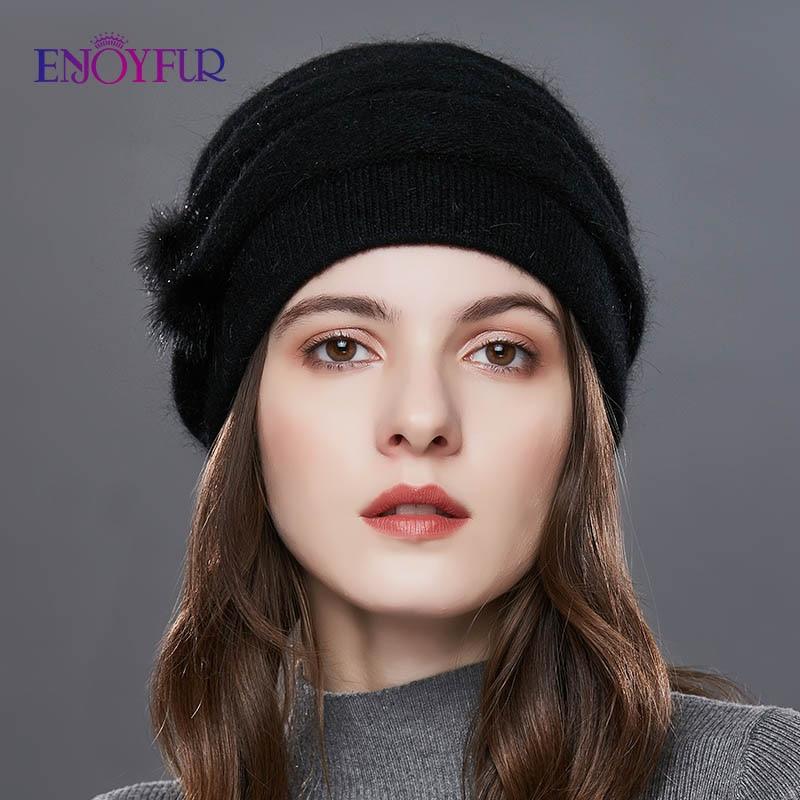 ENJOYFUR Cashmere Pompom Women Winter Hats Caps Stripe Knitted Hat Female Fashion Lady Middle-Aged Cap Rhinestones Thick Beanie