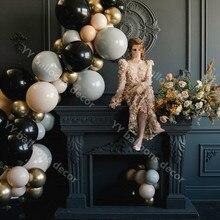 DIY lujo antiguo látex globo Kit de arco piel gris negro boda compromiso aniversario San Valentín telón de fondo decoración con globos