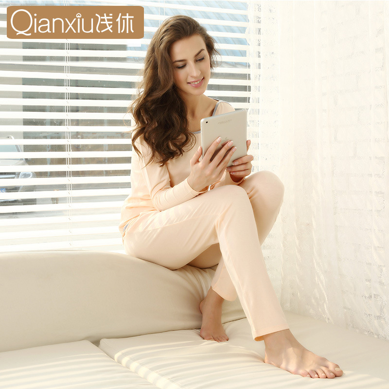 Qianxiu Modal Casual Long Sleeve Pajamas Suit Women's Casual-Outer Wear Spring And Autumn Pajamas