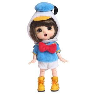 Image 5 - 新 3 個 = シャツ + 下着 + 帽子アヒル衣装洋服人形 ob11 、 obitsu11 、モリー、 1/12bjd 人形の服アクセサリー