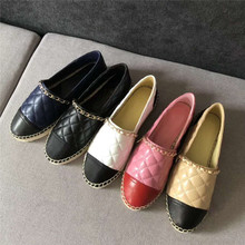 New Women Espadrilles Shoes Flat Genuine Leather Sh