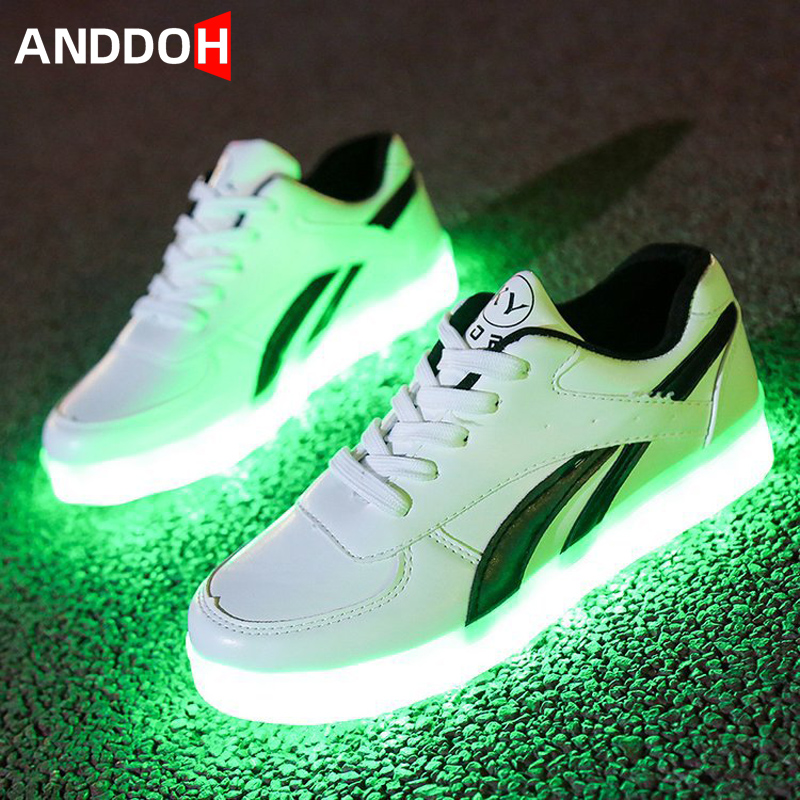 Size 35-44 Non-Leather Casual Shoes Luminous Sneakers For Men&women Led Light Up Sneakers USB Charging Glowing Casual Shoes