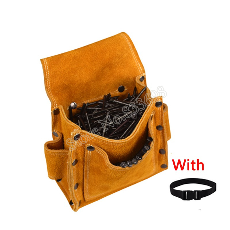 Image 2 - Cowhide Wearable Waist Pack Electric Drill Bag Screws Nails Drill Bit Metal Parts Fishing Travel Tool Storage Bags with BeltTool Bags   -
