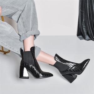 Image 5 - Fedonas feminino novo tamanho grande chelsea botas de salto alto festa sapatos de dança mulher qualidade couro genuíno botas tornozelo quente