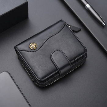 High Quality Leather Wallet Card Wallet zipper wallet with coin pocket Short Men wallet Money Bag Purse Mini Wallet Slim Wallet фото