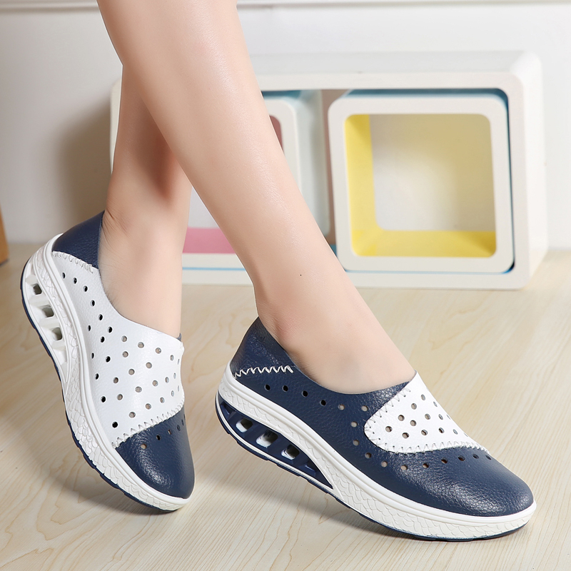 Height Increasing 4cm Platform Shoes Women Hollow Genuine Leather Toning Shoes Breathable Anti-slip Wedge Sneakers Jumping Shoes