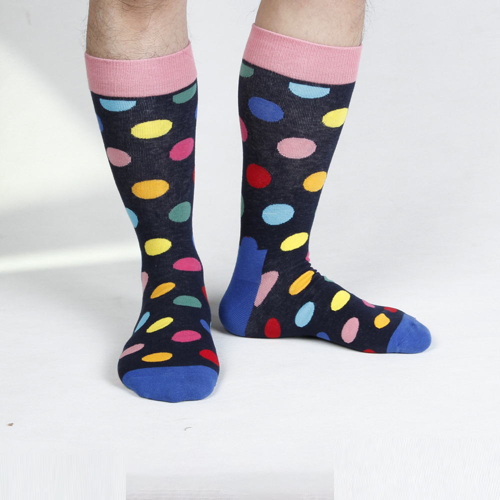 Fashion Men's Casual Happy Socks Men's High Quality Business Dress Socks Cotton Breathable Deodorant Polka Dot Male Socks