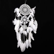Witte Veer Dreamcatcher Windgong Indische Stijl Veren Hanger Dream Catcher Creative Auto Opknoping Decoratie(China)