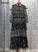 Top Quality Silk Dress 2020 Summer Style Women Yellow Floral Prints Cascading Ruffle Patchwork 3/4 Sleeve Mid Calf Dress Vestido