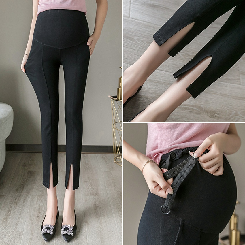 Pregnant women leggings spring and autumn new split fork feet pencil pants stretch stomach lift pregnant women pants