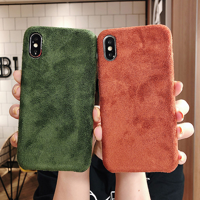 Moskado Winter Warm Plush Phone Case For iPhone 7 8 Plus 11 Pro X XR XS Max Furry Cloth Plain Soft PU Back Cover For iPhone 11