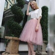 Unterrock 7 Layered Tüll Röcke Frauen 2020 Sommer Hohe Taille Schaukel Dolly Ballkleid Mesh Tutu Midi Rock Faldas Saias