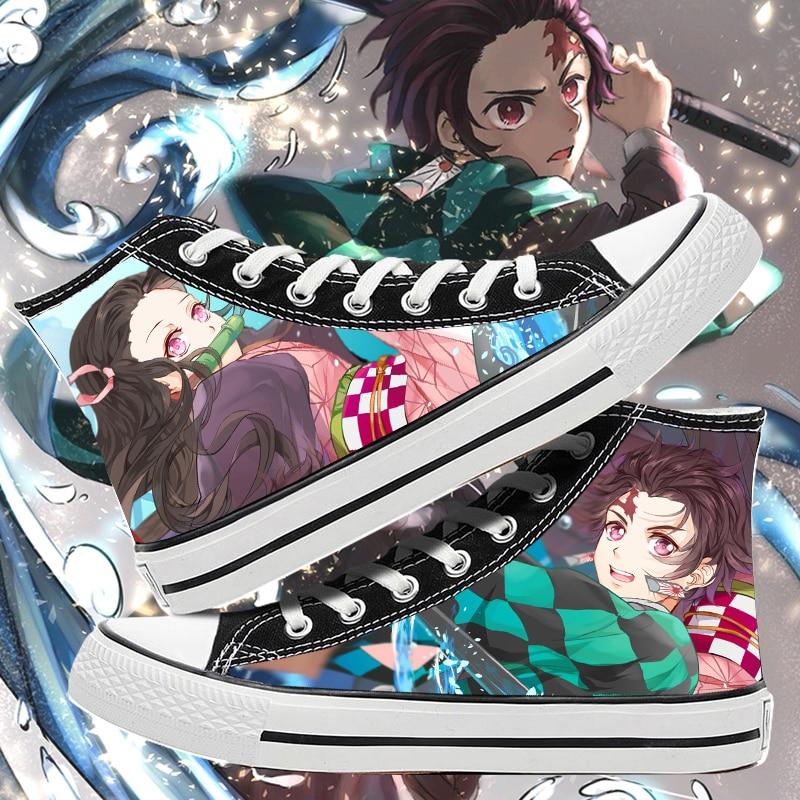 Kimetsu no Yaiba/Обувь для костюмированной вечеринки с героями мультфильмов для студентов; Модная парусиновая обувь; Повседневная Удобная мужская обувь