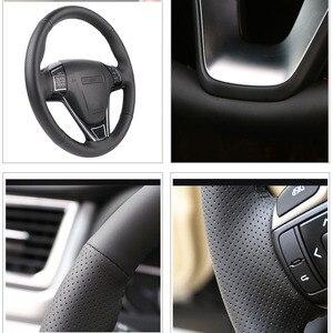 Image 3 - Trenzado de cuero Artificial para volante de coche, funda de dirección personalizada para Toyota RAV4 2013 2018 Toyota Corolla 2003 2015 Scion