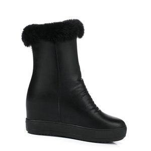 Image 2 - QUTAA/2020 г.; зимняя женская обувь, увеличивающая рост; из искусственной кожи повседневные зимние ботинки с круглым носком; ботильоны на платформе на молнии; размеры 34 40