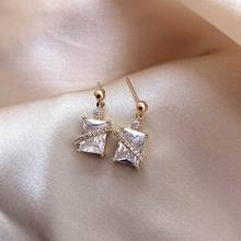 Sparkling Geometric Criss Zircon Earrings Anti Allergic New Fashion Jewelry Delicate Gifts