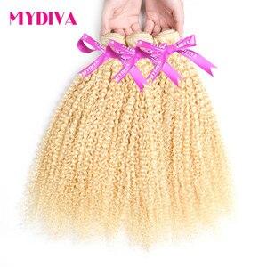 613 blond perwersyjne kręcone brazylijskie pasemka włosów 10-30 Cal Remy ludzki włos wyplata rozszerzenie miód blond 3 wiązki/Lot Mydiva