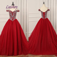 Red Luxury Quinceanera Dresses Ball Gown Plus Size 15 year old Sixteen Crystal Masquerade Sweet 16 Dress Prom Dress