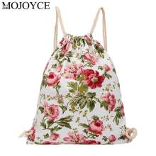 New Leisure Fashion Women Casual Drawstring Flower Printed Backpack Travel Knapsack Beach Bags Girls Ladies School Rucksacks(China)