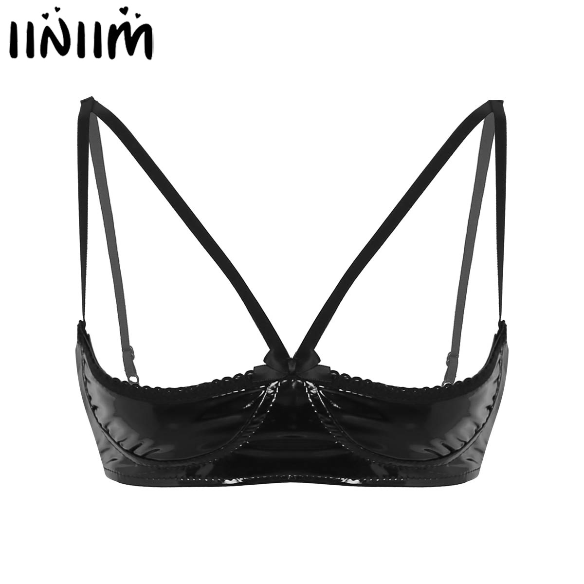 Womens Faux Leather Exotic Lingerie Nightwear Open Bras Sheer Sexy Tanks Vest Tops Wire-free Unlined Bra For Night  Party Bras