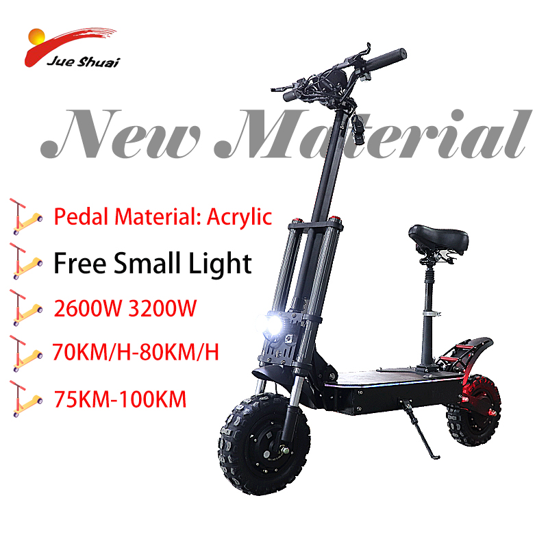 80KM/H 3200W 2600W Acrylic Pedal Electric Scooter 11 Inch Big Loading 105KM MAX Distance Lithium Battery Electric Scooter Adult