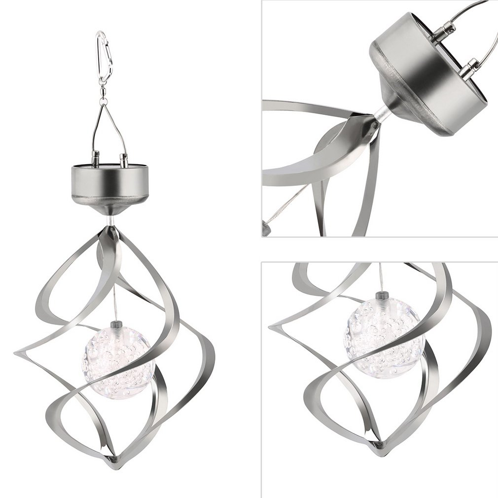 Solar Powered Wind Chime Light LED Garden Hanging Spinner Lamp Color Changing Lawn Yard Home Decoration