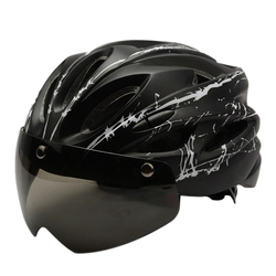 Rowerowa jazda magnetyczna z kask z goglami Mountain Bike zintegrowane formowanie kask sprzęt jeździecki do użytku na zewnątrz czarne z połyskiem biały