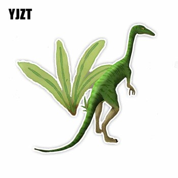 YJZT 12.5CM*13.5CM Standing Green Long Neck Dragon Reflective Car Sticker Decal PVC C29-1090 image