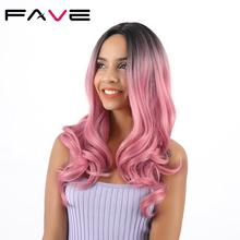 FAVE Synthetic Wigs Long Ombre Black Pink /Brown/ Blonde/Red Hair High Temperature Fiber Wavy Cosplay For Womens Daily Life