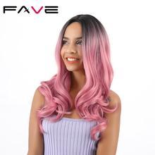 FAVE peruki syntetyczne długie Ombre czarny różowy/brązowy/włosy blond wysokiej temperatury włókna faliste Cosplay dla czarnych białych kobiet peruka