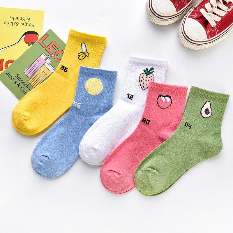 Ins Fashion Women Fruits Patterned Harajuku Socks Candy Color Comfortable Avocado Socks For Ladies Concise Joker Breathable Sox
