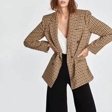 2019 Autumn Women's suit plaid jacket casual vintage chic coat female ZA style blazer Double-breasted outerwear women(China)