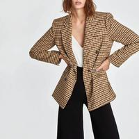 2019 Autumn Women's suit plaid jacket casual vintage chic coat female ZA style blazer Double breasted outerwear women