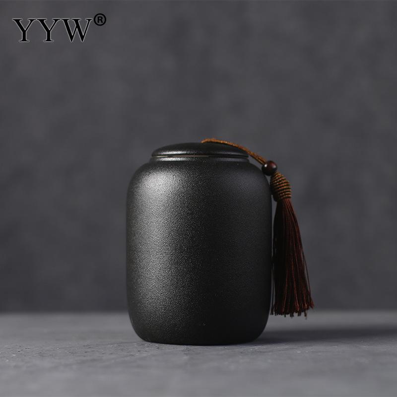 Black Tea Box Organizer Kitchen Ceramic Jar Seal Storage Holder Sweetmeats Candies Cans Teaware Tea Caddies Tin Containers
