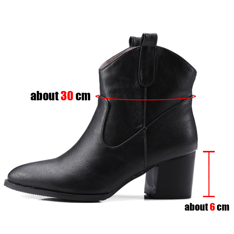 SARAIRIS Plus Size 32-48 Retro Black Pointed Toe Booties Ladies Winter Ankle Western Boots Women 2019 High Heels Shoes Woman