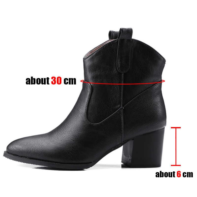 SARAIRIS artı boyutu 32-48 Retro siyah sivri burun patik bayanlar kış ayak bileği batı botları kadın 2020 yüksek topuklu ayakkabı kadın