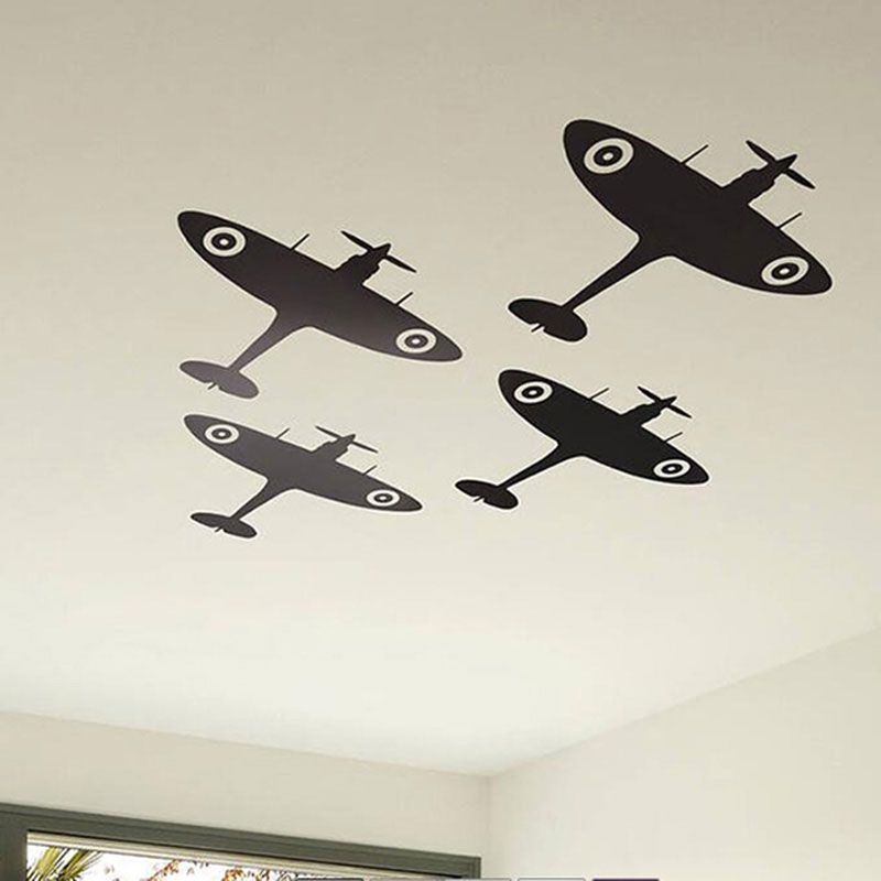 Spitfire Airplane Ceiling Wall Sticker Baby Nursery Kids Room Cartoon Fighter Military Wall Decal Bedroom Vinyl Decor Mural A460 image