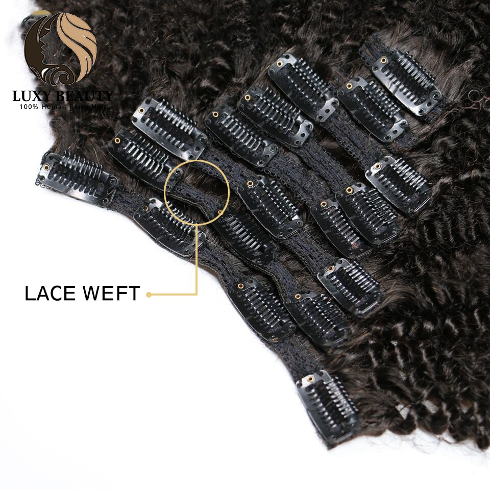 Luxy beauty human hair clip in extensions Afro Kinky Curly  8 Pieces And 120g/Set Natural Color Remy Hair afro human hair