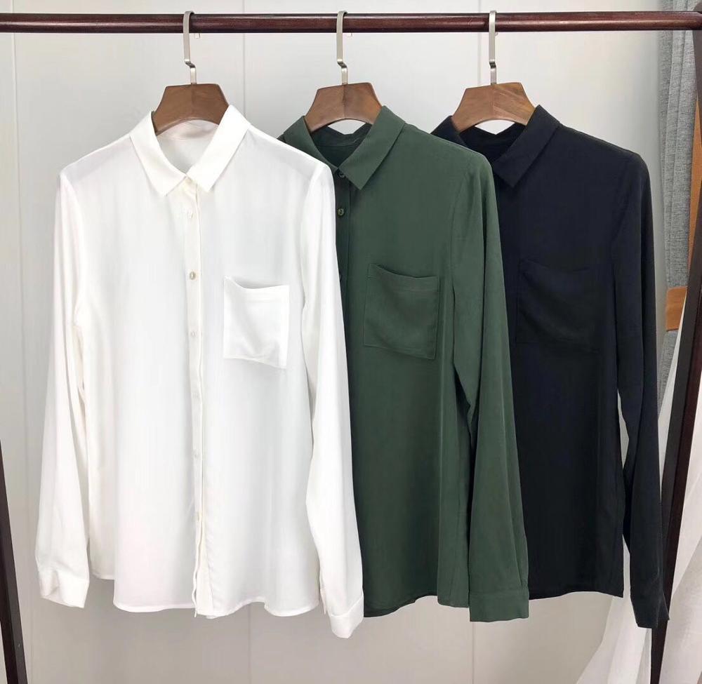 Kadın Giyim'ten Bluzlar ve Gömlekler'de Fransız kadın gömlek 100% gerçek ipek zeytin tek cep bluzlar güzel gömlek güzel düğmeler sequins'da  Grup 1