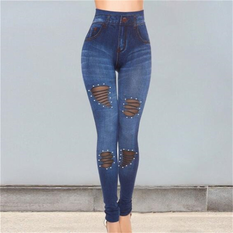 Women High Waist Stretch Denim Jeans Casual Blue Jeans Hole Jeans Pancil Pants Casual Stretch Skinny Trousers Jeans
