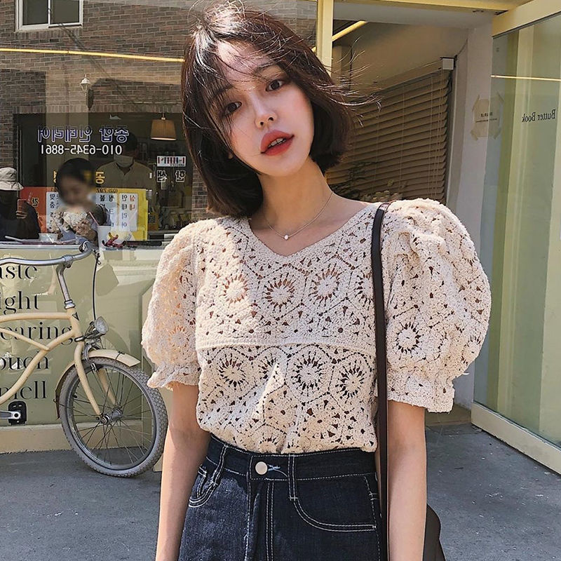 Women Blouse V neck Hollow Crochet Loose Puff Sleeves Summer Short Sleeved Top Blusas Ropa De Mujer|Blouses & Shirts| - AliExpress