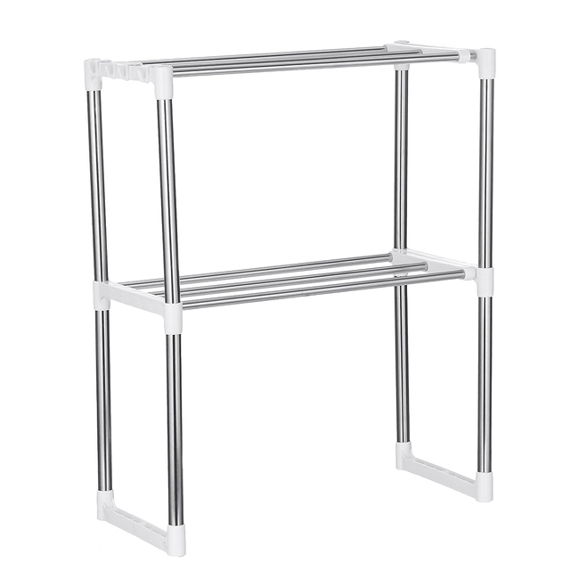 Kitchen Storage Shelf Rack Microwave Oven Shelving Unit 2/3 Tier Multi-functional Microwave Oven Shelf Rack Standing Type