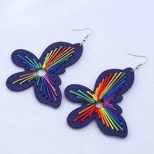 Pendientes largos de mariposa colgantes de madera 2019 noticias primavera verano Mujer moda accesorios de joyería